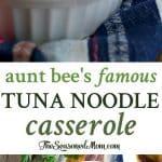 A collage image of a tuna noodle casserole