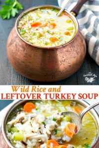 Long collage image of wild rice and leftover turkey soup