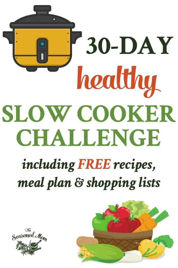 Long collage of 30 Day Healthy Slow Cooker Challenge
