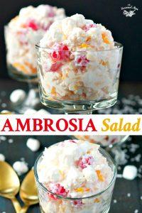 Long collage image of Ambrosia Salad Recipe