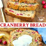 Long collage image of Cranberry Bread