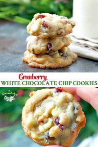 Long collage image of Cranberry White Chocolate Chip Cookies