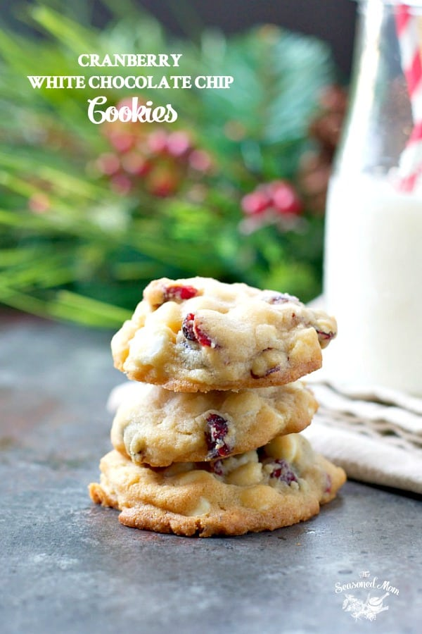 Stack of White Chocolate Chip Cookies with Cranberries with text overlay