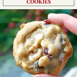 Fingers holding cranberry white chocolate chip cookies with a text title box at the top