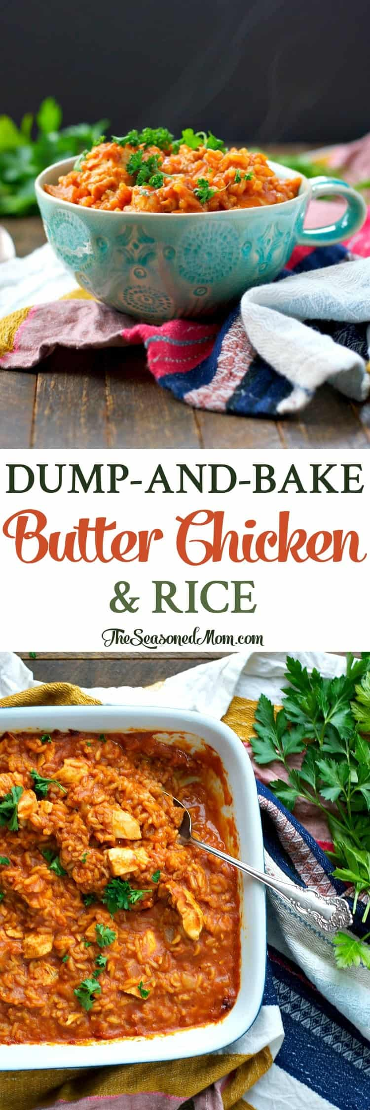 Just 10 minutes of prep for this Dump-and-Bake Butter Chicken and Rice! Even the rice and the chicken cook together in one dish for an easy dinner!