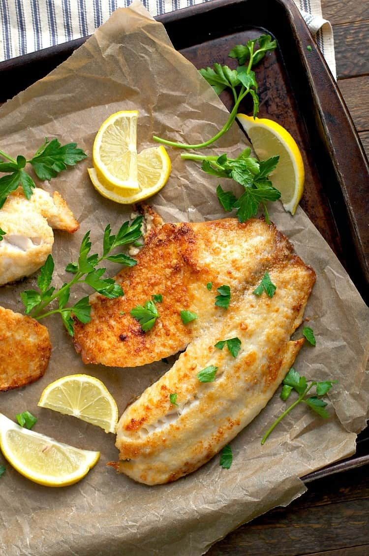 5 ingredient garlic parmesan tilapia the seasoned mom for Easy fish recipes for dinner