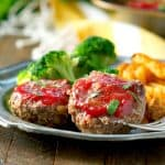 Healthy Mini Meatloaf on a plate with text overlay