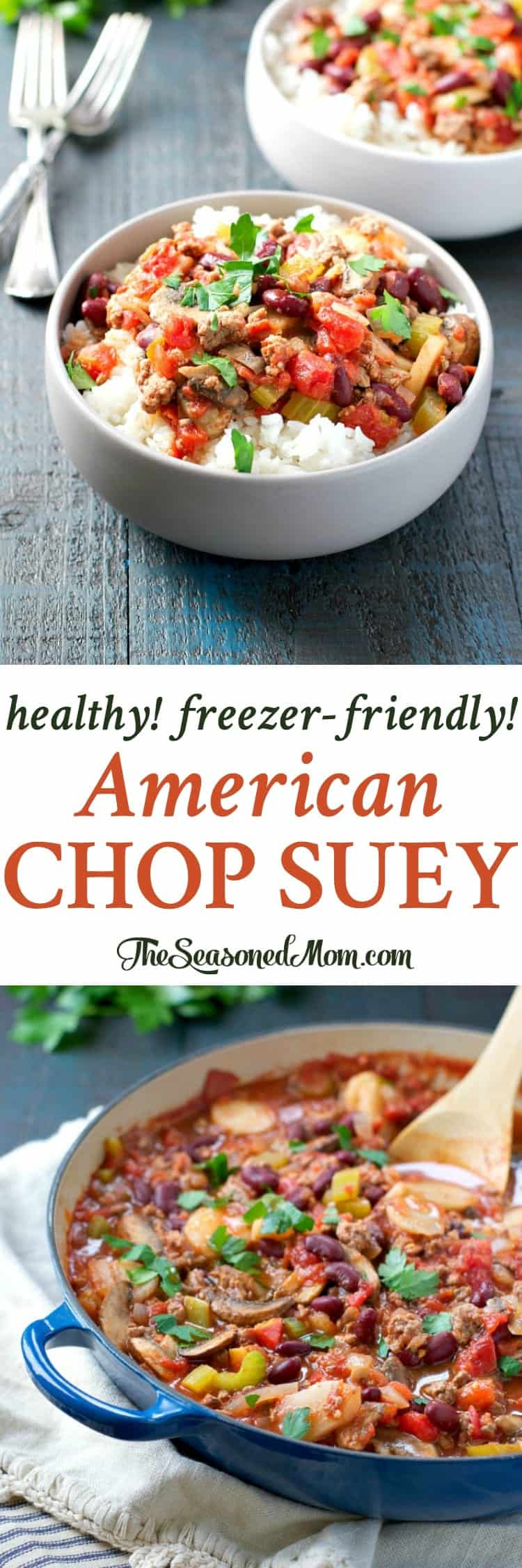 Loaded with ground beef, garlic, onion, and veggies, this American Chop Suey is a healthy, freezer-friendly, and easy dinner that comes together in one skillet!