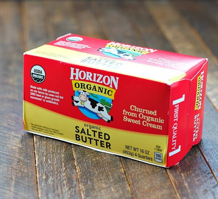 A close up of horizon salted butter used to make whole wheat banana muffins