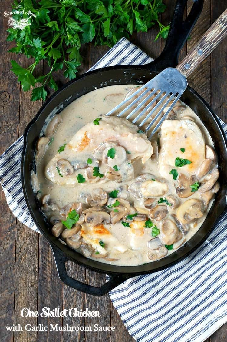 With just 5 minutes of prep, this One Skillet Chicken with Garlic Mushroom Sauce is a wholesome and easy dinner for busy weeknights!