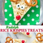 Long collage image of Rudolph Rice Krispies Treats