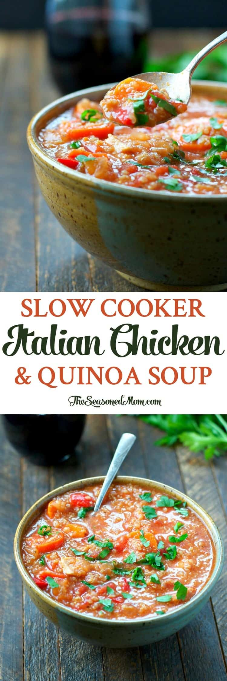 Just 5 minutes of prep for this easy Slow Cooker Italian Chicken and Quinoa Soup -- a healthy dinner that the whole family will love!