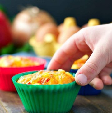 A close up of egg muffins in muffin cases