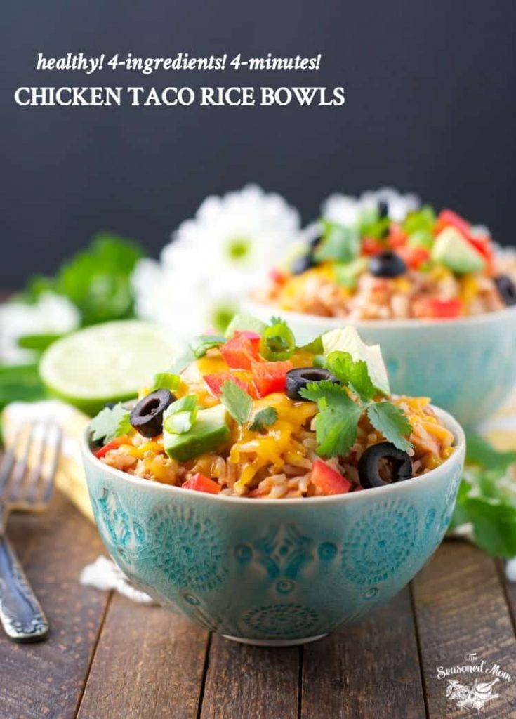 4-Ingredient, 4-Minute Chicken Taco Rice Bowls