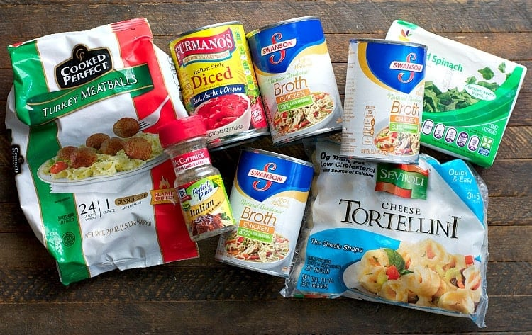 Ingredients for Turkey Meatball and Tortellini Soup freezer meals!