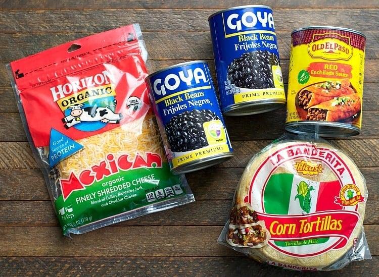 Ingredients for Black Bean Enchilada Casserole for vegetarian healthy freezer meals!