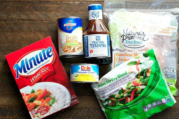 Ingredients for Dump and Bake CHicken Teriyaki and Vegetables freezer meal!