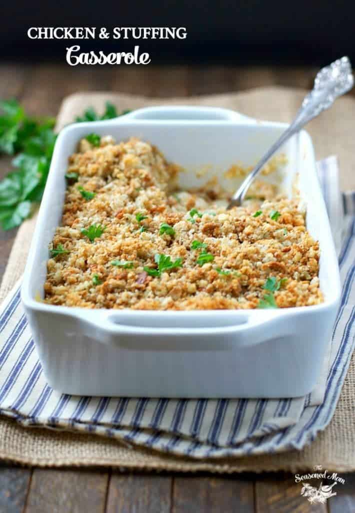 Front shot of a dish of chicken and stuffing casserole with text title overlay