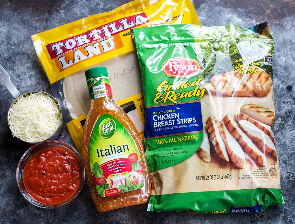 Ingredients for making Italian quesadillas on a work surface