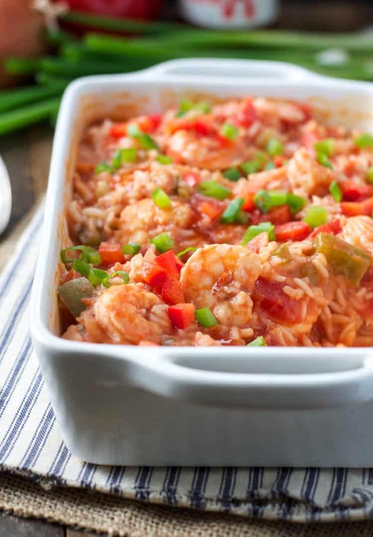 Dump-and-Bake Shrimp Etouffee with Rice! Cajun Food | Cajun Recipes | Mardi Gras Food | Shrimp Recipes | Dinner Recipes | Easy Dinner Recipes | Dinner Ideas