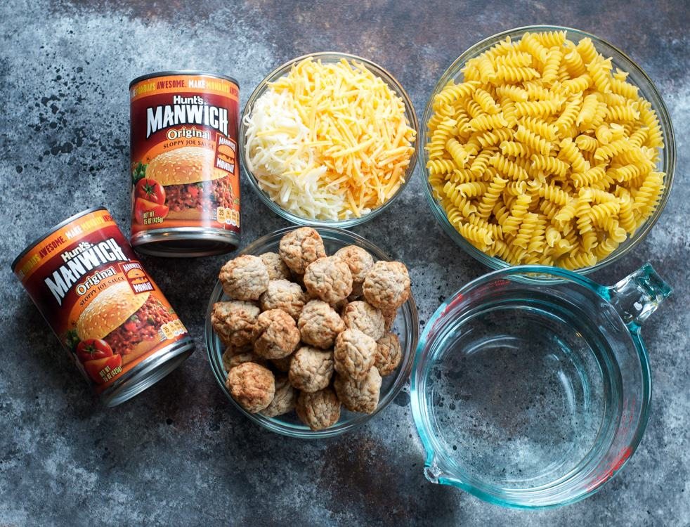 Ingredients for making a Sloppy Joe Casserole on a work surface