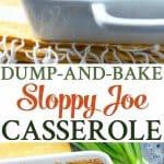 A collage image of a sloppy joe casserole