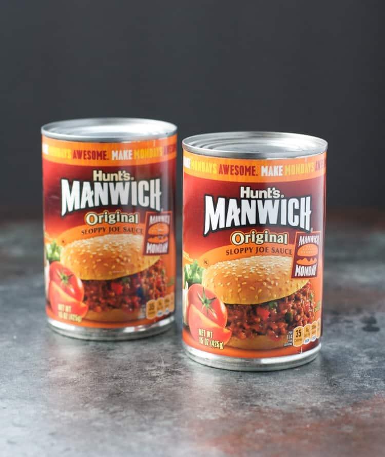 Two cans of manwich original sloppy joe sauce