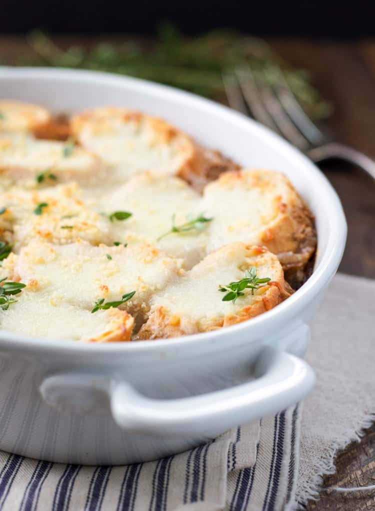 A close up of a french onion soup casserole