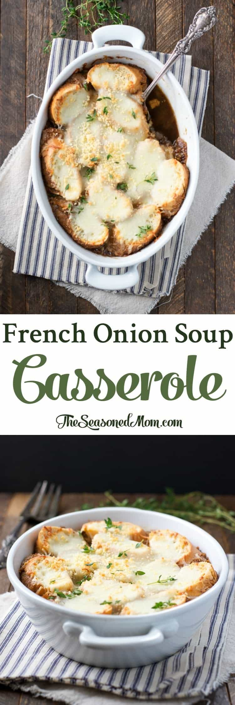 In just 10 minutes you can prep this easy French Onion Soup Casserole for an easy side dish or a hearty vegetarian dinner!