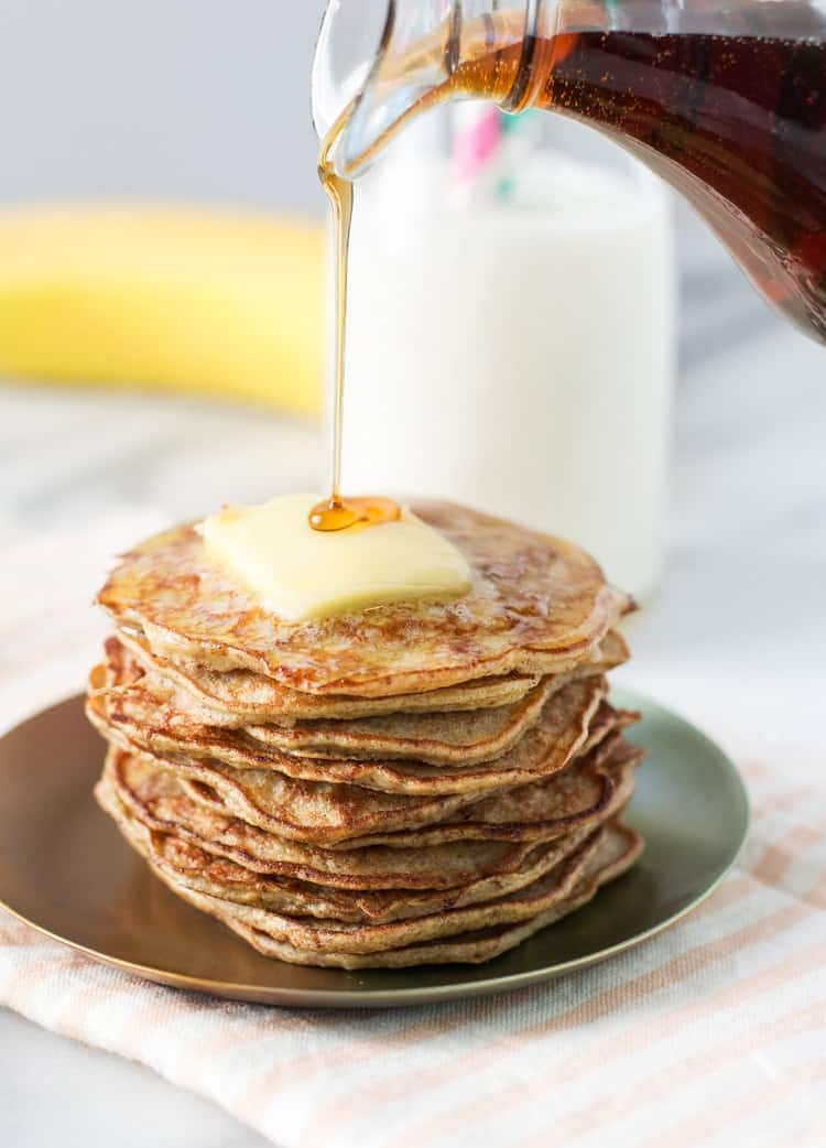 These healthy pancakes are made gluten free and grain free with banana and egg!
