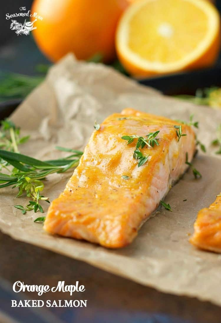 A close up of a fillet of orange maple baked salmon