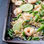 Sheet Pan Supper: Honey Garlic Shrimp with Rice and Green Beans