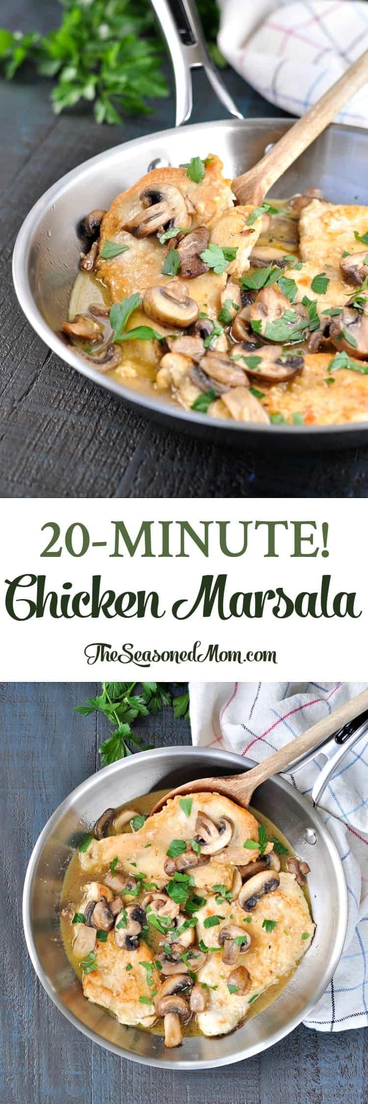 One Skillet 20-Minute Chicken Marsala! Easy Dinner Recipes | Dinner Ideas | Chicken Recipes | Chicken Breast Recipes | Dinner Recipes Easy