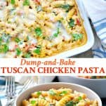 Long collage image of Tuscan Chicken Pasta