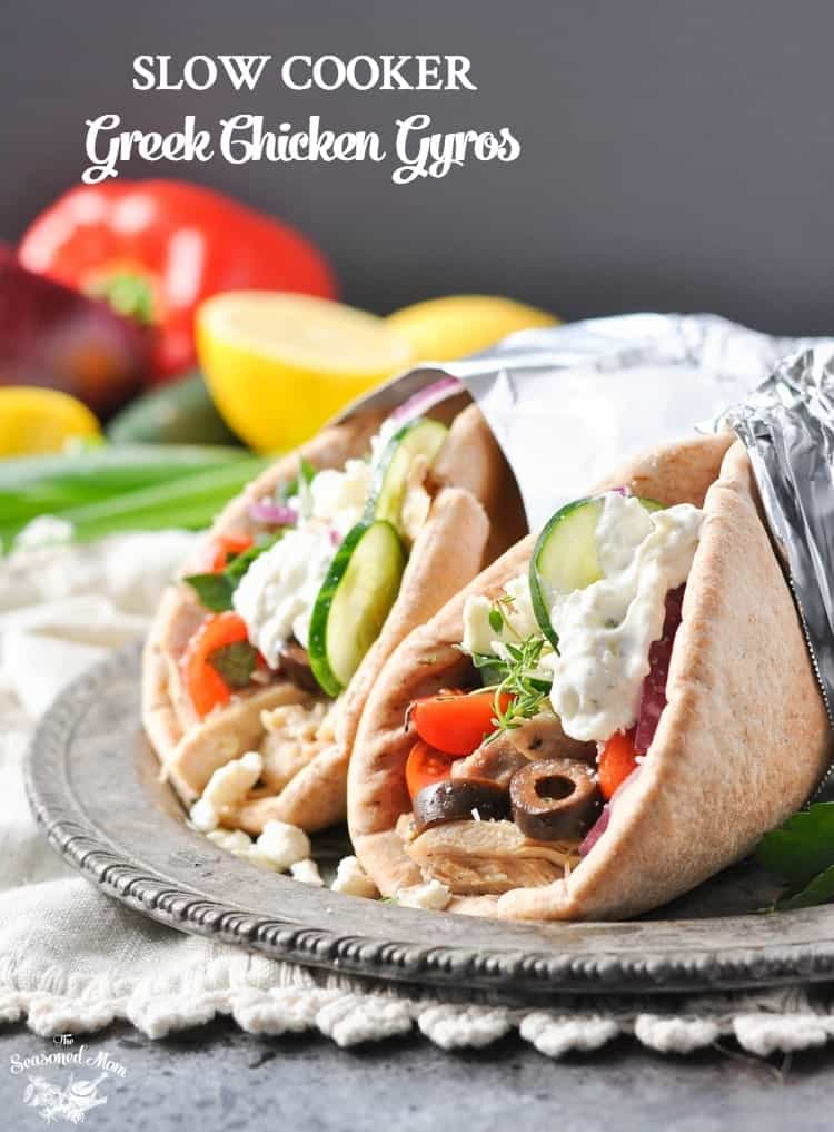 Slow Cooker Greek Chicken Gyros The Seasoned Mom