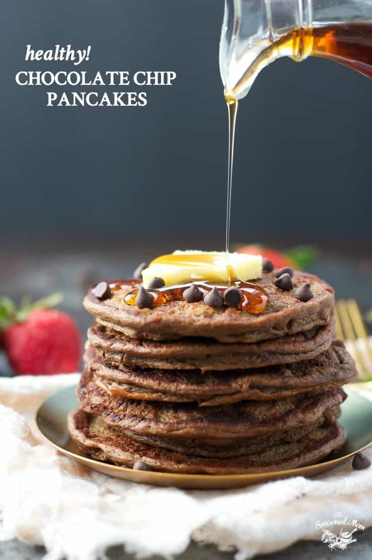 These flourless Healthy Chocolate Chip Pancakes are full of protein, fruits, vegetables, and whole grains for a healthy breakfast! Healthy Recipes | Breakfast Ideas | Breakfast Recipes | Gluten Free | Gluten Free Breakfast | Gluten Free Recipes