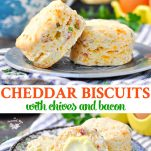 Long collage of Cheddar Biscuits with Chives and Bacon