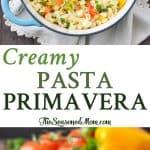 A collage image of creamy pasta primavera