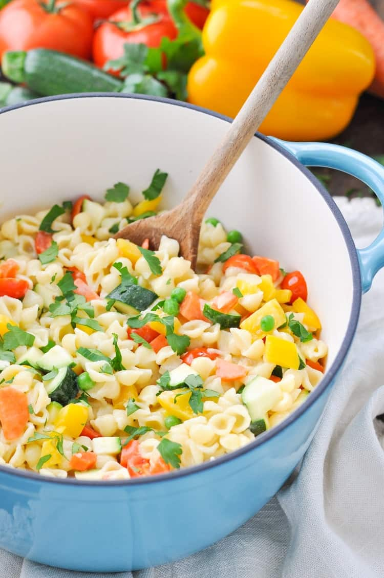 Creamy Pasta Primavera in a blue pot