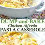 Long collage image of Chicken Alfredo Pasta Casserole