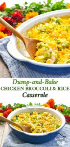 A collage image of Dump and Bake Chicken Broccoli Rice Casserole