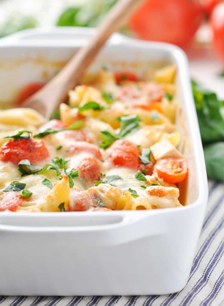 A close up of Dump and Bake Chicken Caprese Pasta