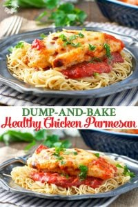Long collage image of Healthy Chicken Parmesan