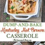 A collage image of a Kentucky Hot Brown Casserole