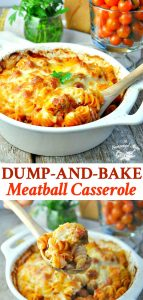 Long collage image of Dump and Bake Meatball Casserole