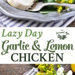 A collage image of garlic and lemon chicken