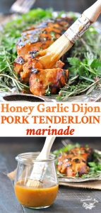 A long collage image of a pork tenderloin marinade