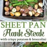 A collage image of sheet pan flank steak
