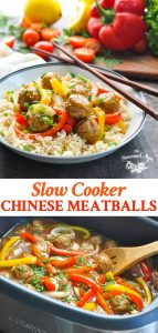 Long collage image of Slow Cooker Chinese Meatballs with Peppers and Onions