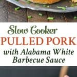 A collage image of slow cooker pulled pork